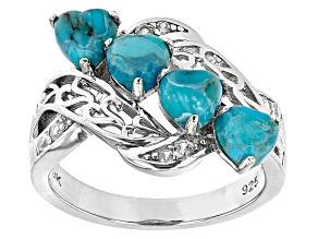 Blue Turquoise Rhodium Over Sterling Silver Ring. 0.19ctw