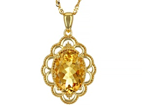 Yellow Citrine 18k Yellow Gold Over Sterling Silver Solitaire Pendant With Chain 4.25ct