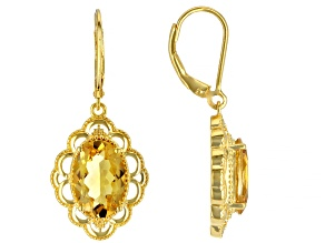 Yellow Citrine 18k Yellow Gold Over Sterling Silver Dangle Earrings 4.61ctw