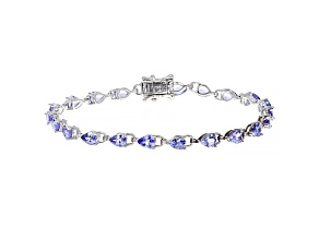 Pear-shaped Tanzanite Rhodium Over Sterling Silver Bracelet 5.25ctw