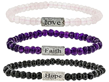 Picture of Purple Amethyst, Rose Quartz and Black Spinel Silver Set of 3 Stretch Bracelets