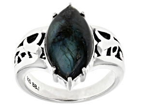 Gray Labradorite Rhodium Over Sterling Silver Solitaire Ring 16x8mm