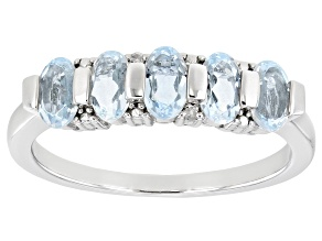 Blue Aquamarine Rhodium Over Sterling Silver Band Ring 0.86ctw
