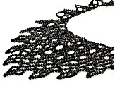 Black Spinel Rhodium Over Silver Woven Lace Collar Necklace