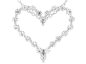 Lab Created White Sapphire Rhodium Over Silver Heart Shaped Pendant With Chain 0.84ctw