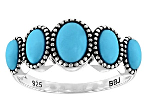 Blue Sleeping Beauty Turquoise Rhodium Over Sterling Silver Ring 7x5mm, 6x4mm, And 5x3mm