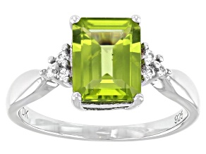 Green Peridot Rhodium Over Sterling Silver Ring 2.27ctw