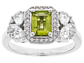 Green Peridot Rhodium Over Sterling Silver Ring 1.56ctw