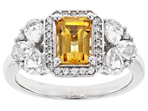 Yellow Citrine Rhodium Over Sterling Silver Ring 1.69ctw