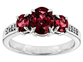 Raspberry Color Rhodolite Rhodium Over Sterling Silver Ring 2.39ctw