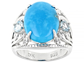 Blue Turquoise Rhodium Over Sterling Silver Ring 16x12mm