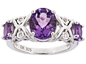 Purple Amethyst Rhodium Over Sterling Silver Ring 2.80ctw