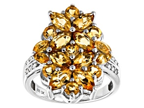 Golden Citrine Rhodium Over Sterling Silver Ring 2.68ctw