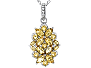Golden Citrine Rhodium Over Sterling Silver Pendant With Chain 2.61ctw
