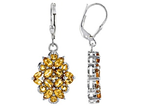 Golden Citrine Rhodium Over Sterling Silver Dangle Earrings 3.60ctw