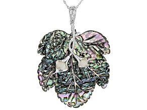 Multi-Color Abalone Shell Rhodium Over Silver Pendant With Chain