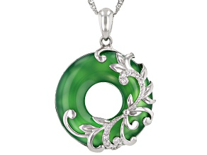 "Green Onyx Rhodium Over Sterling Silver Pendant With 18"" Singapore Chain"