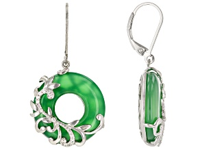 Green Onyx Rhodium Over Sterling Silver Earrings 24.57ctw