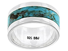 Blue Turquoise Oxidized Sterling Silver Band Ring 2.94ctw