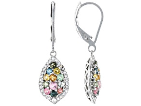 Multicolor Tourmaline Rhodium Over Silver Dangle Earrings 1.31ctw