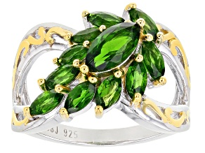Green Chrome Diopside Rhodium Over Sterling Silver Ring 1.85ctw