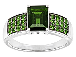 Green Chrome Diopside Rhodium Over Sterling Silver Ring 1.61ctw