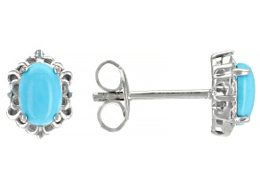 Sleeping Beauty Turquoise Rhodium Over Sterling Silver Stud Earrings