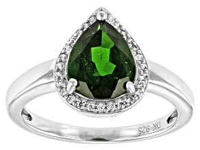 Green Chrome Diopside Platinum Over Sterling Silver Ring 2.12ctw