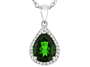 Green Chrome Diopside Platinum Over Silver Pendant With Chain 2.12ctw