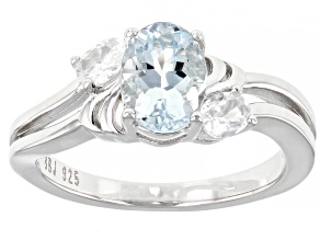 Blue Aquamarine Rhodium Over Sterling Silver Ring 1.24ctw