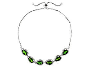 Green Chrome Diopside Platinum Over Sterling Silver Bolo Bracelet 4.79ctw