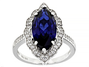 Blue Lab Created Sapphire Rhodium Over Sterling Silver Ring 5.40ctw