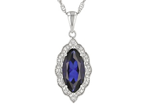 "Blue Lab Created Sapphire Rhodium Over Silver Pendant With 18"" Singapore Chain 5.29ctw"