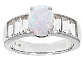 Multi-Colored Lab Created Opal Rhodium Over Sterling Silver Ring 0.47ctw