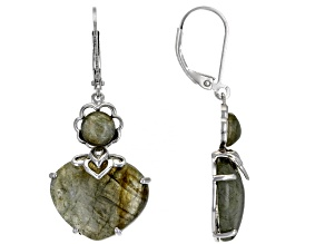 Blue Labradorite Rhodium Over Sterling Silver Dangle Earrings