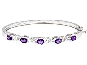 Purple Amethyst Rhodium Over Silver Bangle Bracelet 1.95ctw