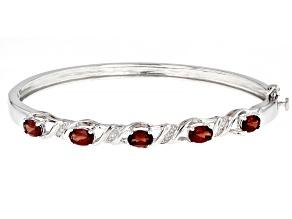 Red Garnet Rhodium Over Sterling Silver Bangle Bracelet 2.60ctw