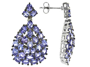 Misty's Holiday Collection Blue Tanzanite Rhodium Over Sterling Silver Dangle Earrings 8.72ctw