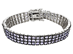 Blue Tanzanite Rhodium Over Silver Tennis Bracelet 15.05ctw