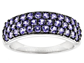 Blue Tanzanite Rhodium Over Sterling Silver Band Ring 1.33ctw
