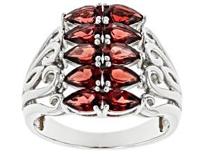 Red Garnet Rhodium Over Sterling Silver Ring 2.21ctw