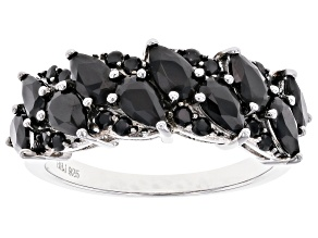 Black Spinel Rhodium Over Sterling Silver Ring 2.41ctw