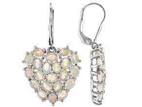 Multicolor Ethiopian Opal Rhodium Over Sterling Silver Heart Earrings 3.93ctw
