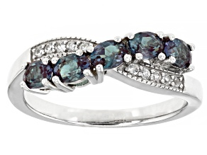 Blue Lab Created Alexandrite Rhodium Over Sterling Silver Ring 1.00ctw