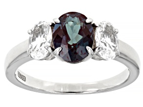 Blue Lab Created Alexandrite Rhodium Over Sterling Silver Ring 2.12ctw