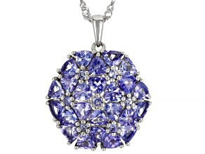 Tanzanite Rhodium Over Sterling Silver Pendant With Chain 5.34ctw