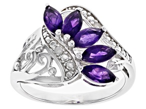 Purple Amethyst Rhodium Over Sterling Silver Ring 0.90ctw