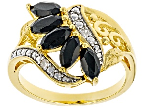 Black Spinel 18k Yellow Gold Over Sterling Silver Ring 1.33ctw