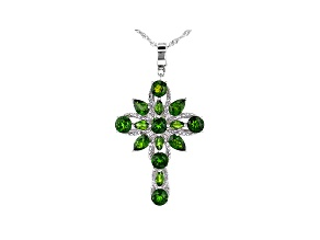 Green Chrome Diopside Rhodium Over Sterling Silver Cross Pendant With Chain 4.78ctw