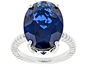 Blue Lab Created Spinel Rhodium Over Sterling Silver Ring 13.00ct